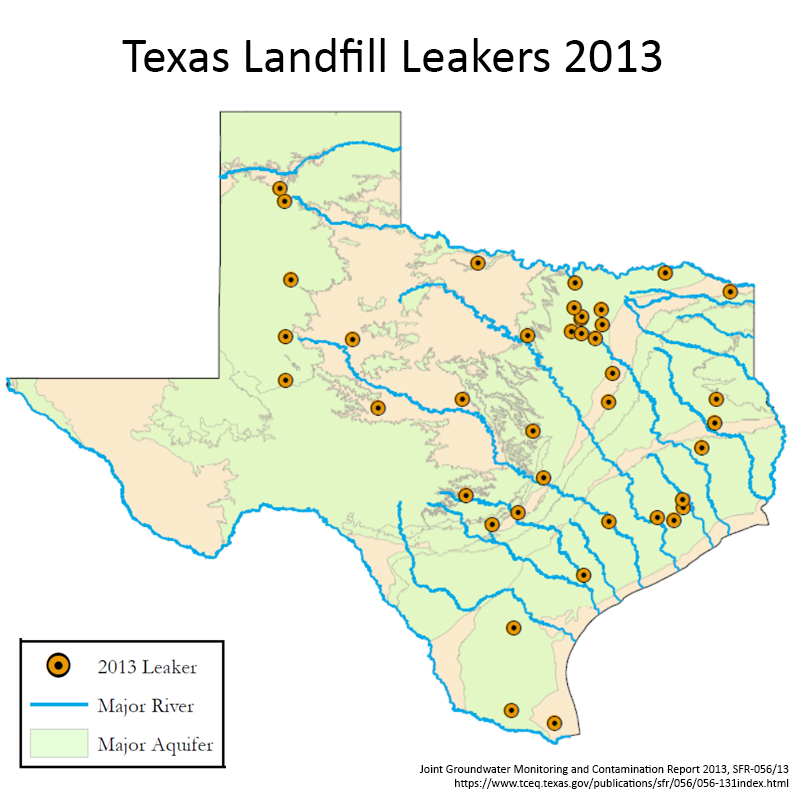Texas landfill leakers graphic for report