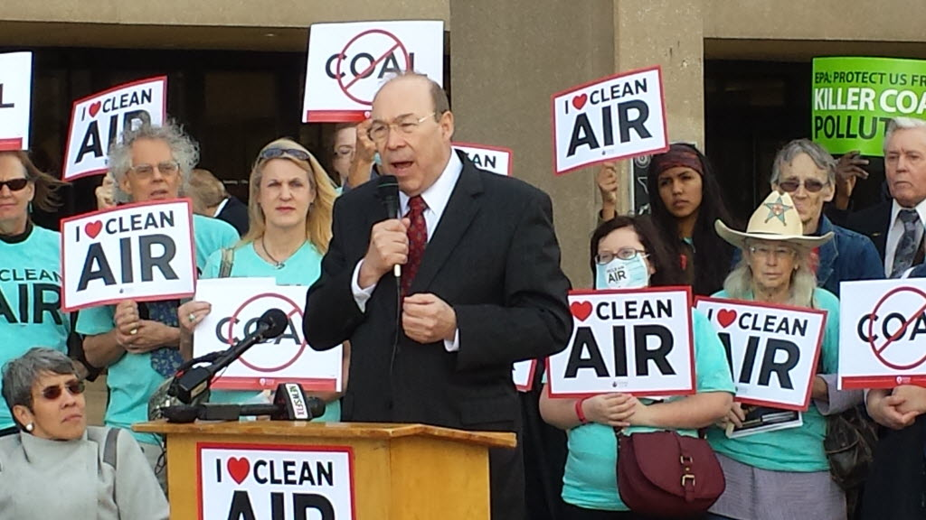 Dr. Robert Haley of Dallas speaks at a news conference outside an Arlington hearing on an EPA proposal to strengthen the national standard on ozone. (Dallas Morning News, File Photo/Staff)