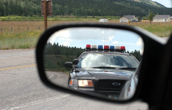 traffic stop side view mirror